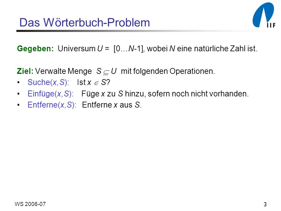 Das Wörterbuch-Problem