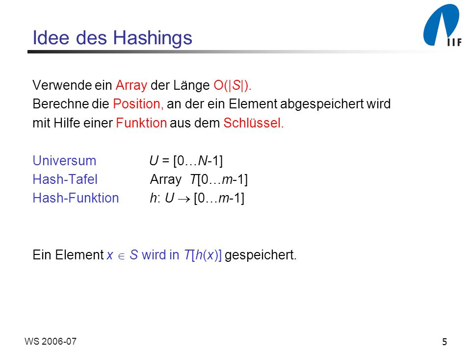 Idee des Hashings Verwende ein Array der Länge O(|S|).