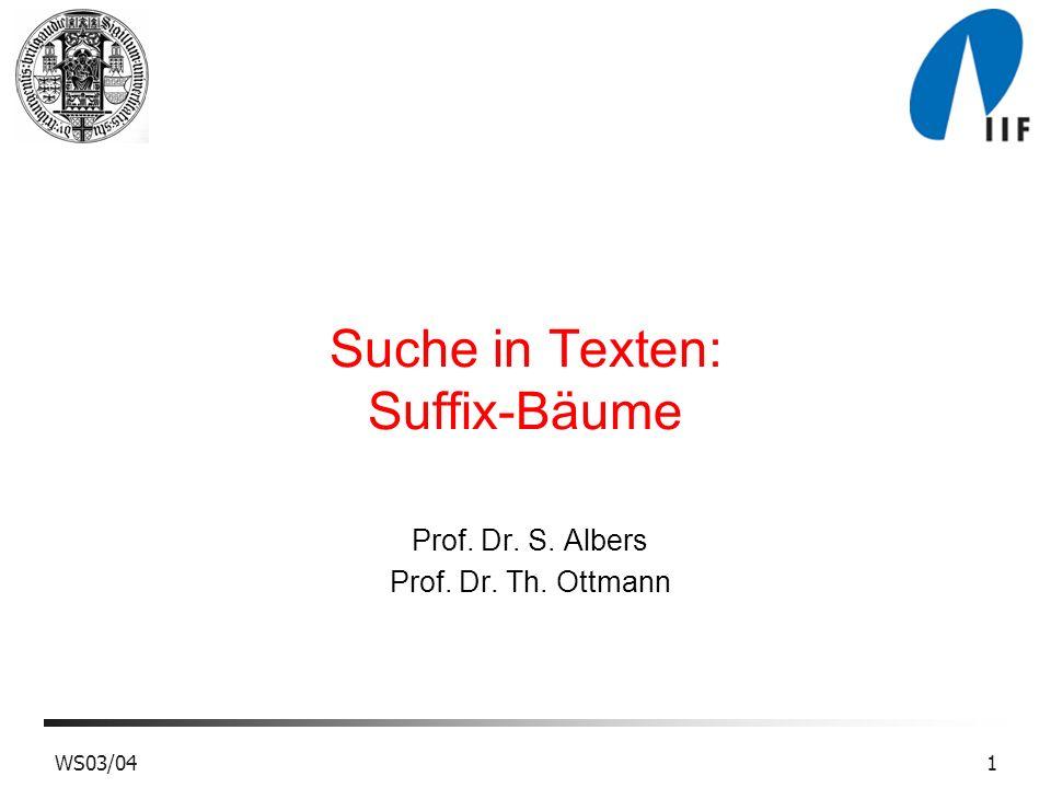 Suche in Texten: Suffix-Bäume