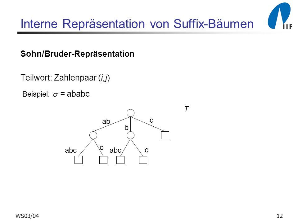 Interne Repräsentation von Suffix-Bäumen