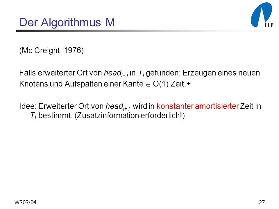 Der Algorithmus M (Mc Creight, 1976)
