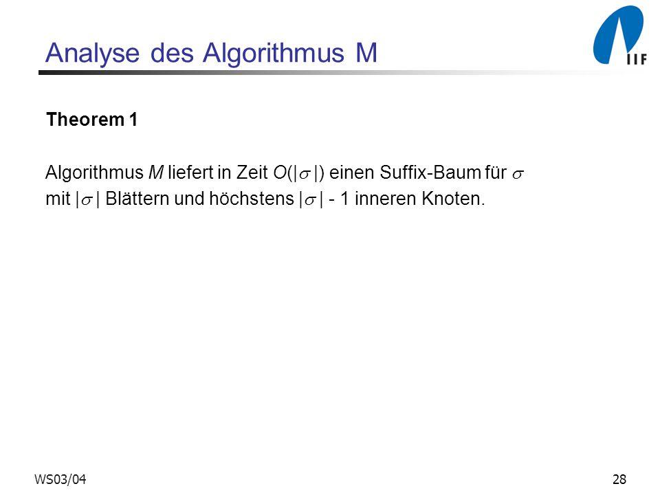 Analyse des Algorithmus M
