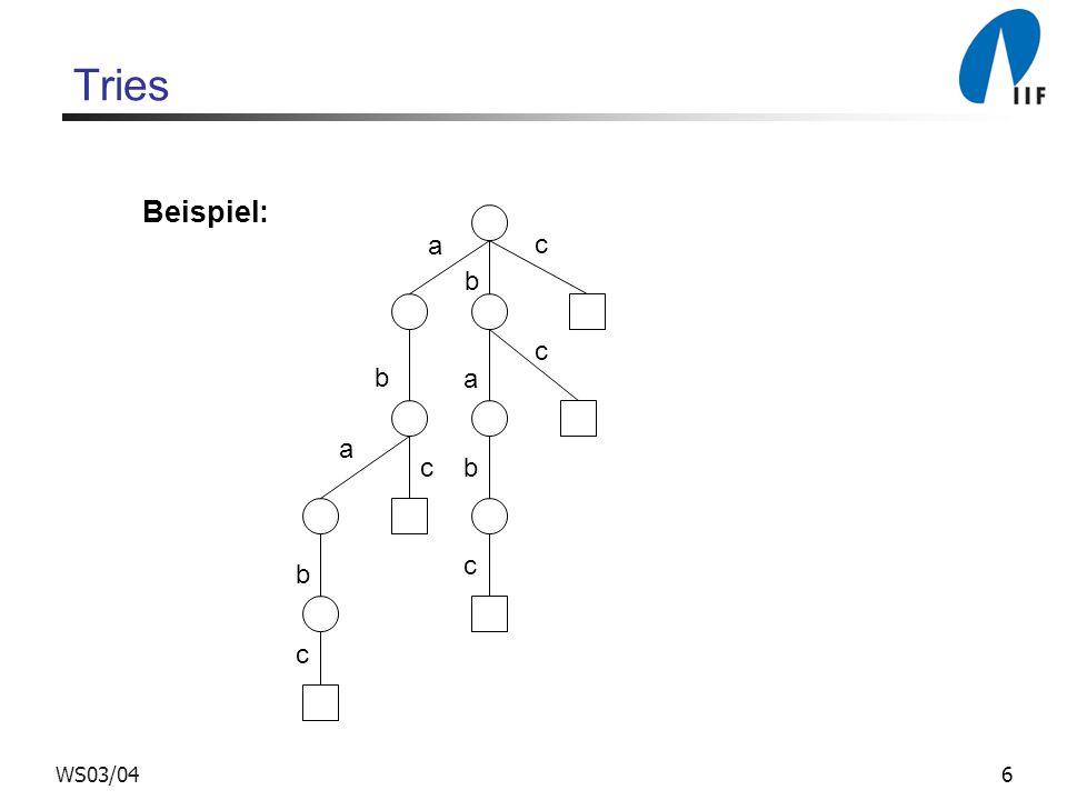 Tries Beispiel: a c b WS03/04