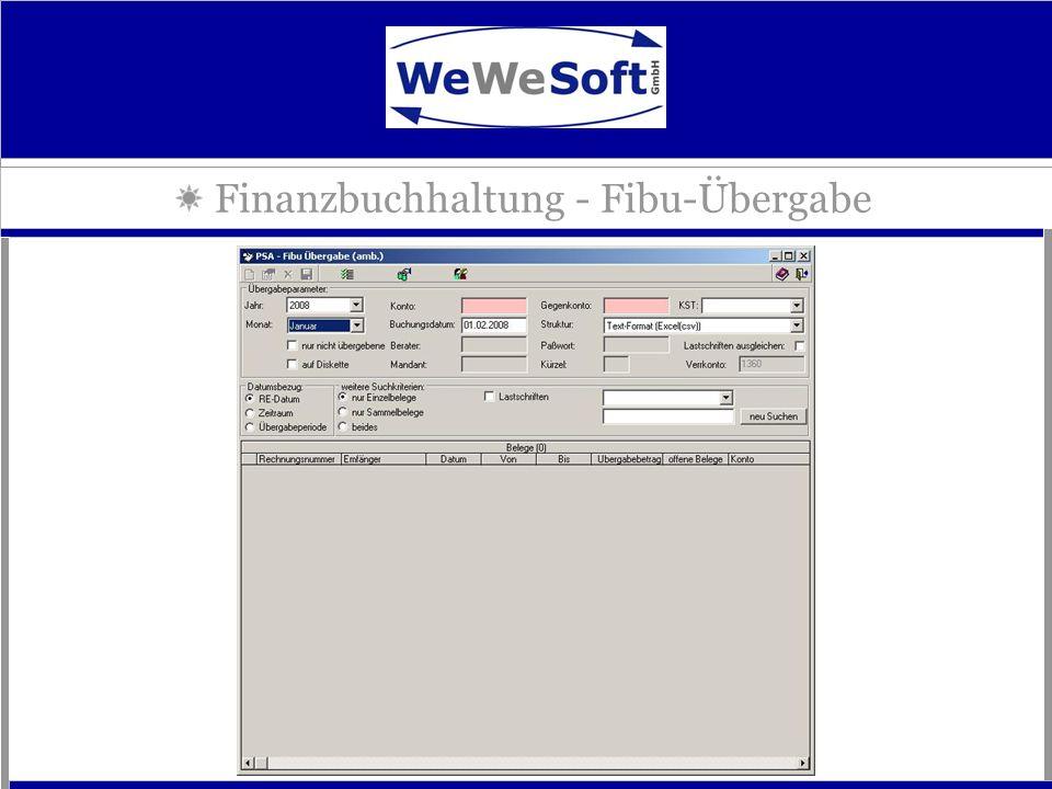 Finanzbuchhaltung - Fibu-Übergabe