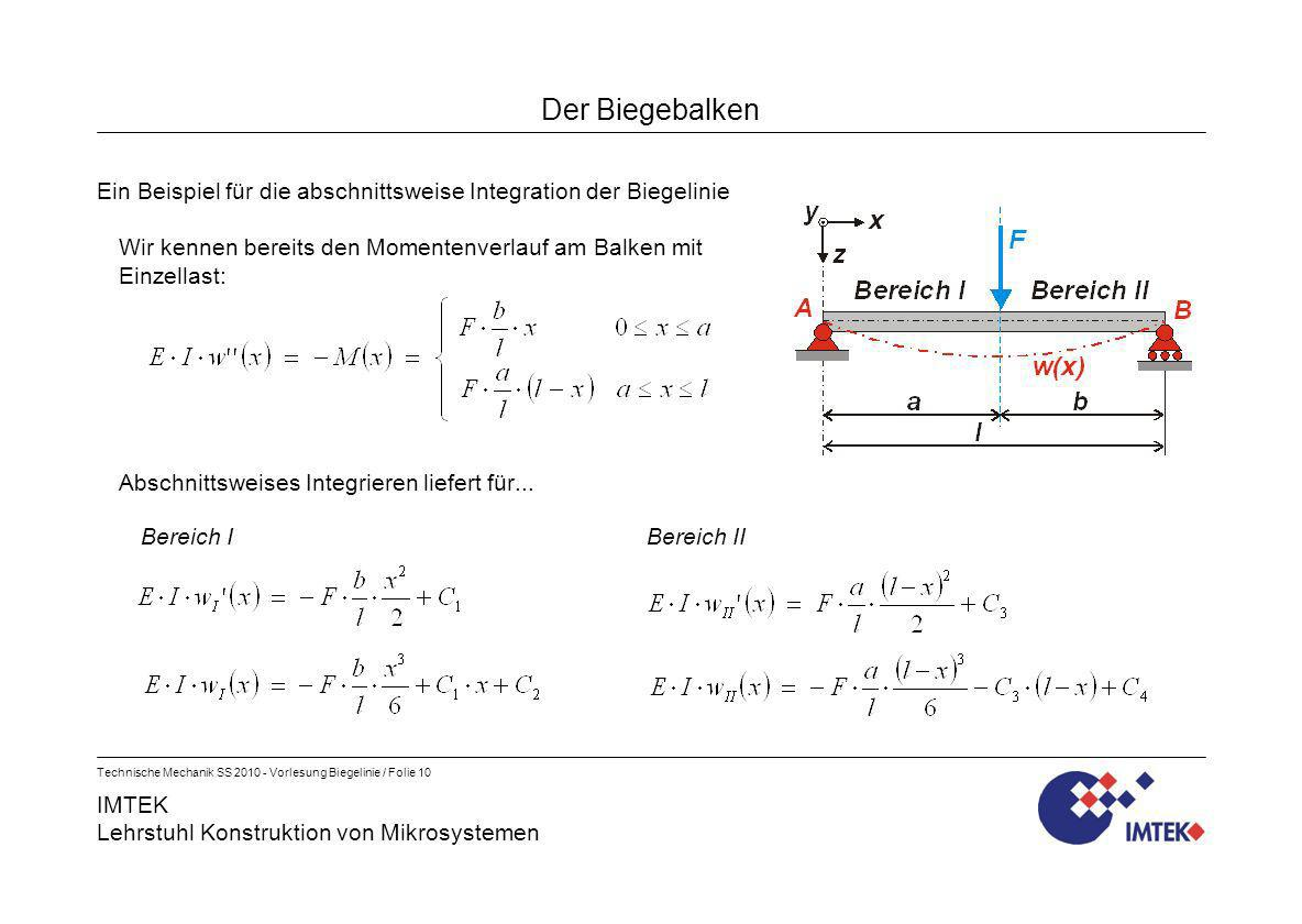 Der BiegebalkenEin Beispiel für die abschnittsweise Integration der Biegelinie. Wir kennen bereits den Momentenverlauf am Balken mit Einzellast: