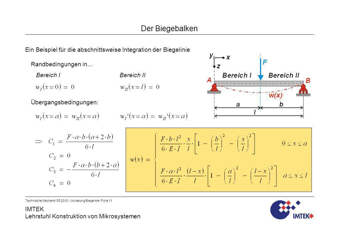 Der BiegebalkenEin Beispiel für die abschnittsweise Integration der Biegelinie. Randbedingungen in...