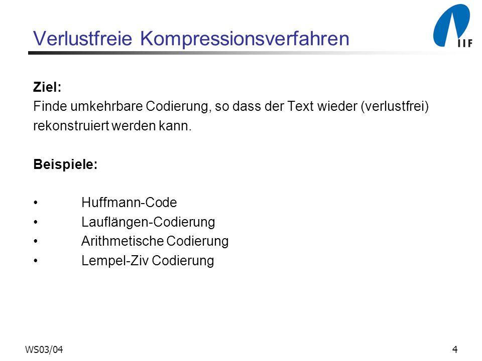 Verlustfreie Kompressionsverfahren