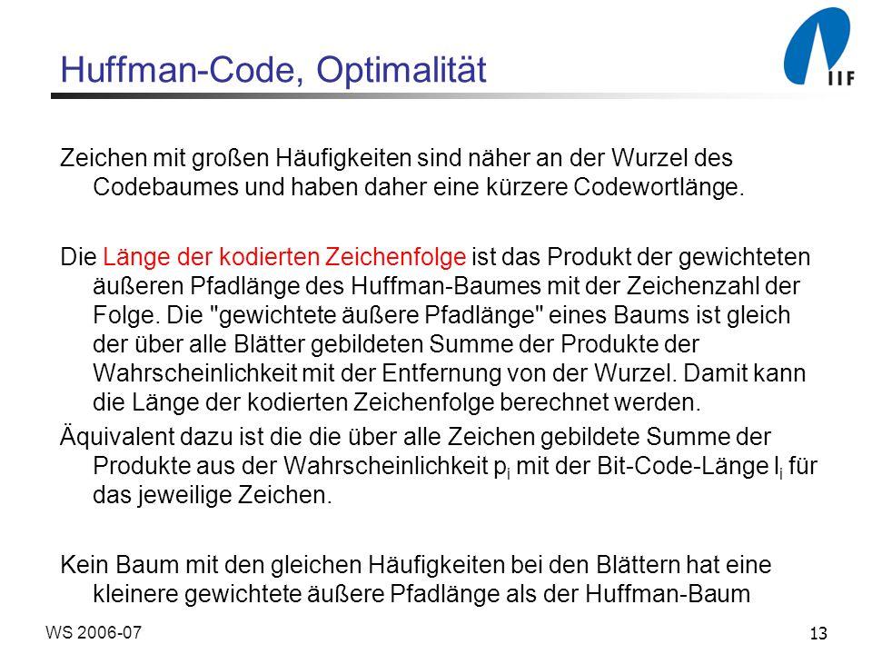 Huffman-Code, Optimalität