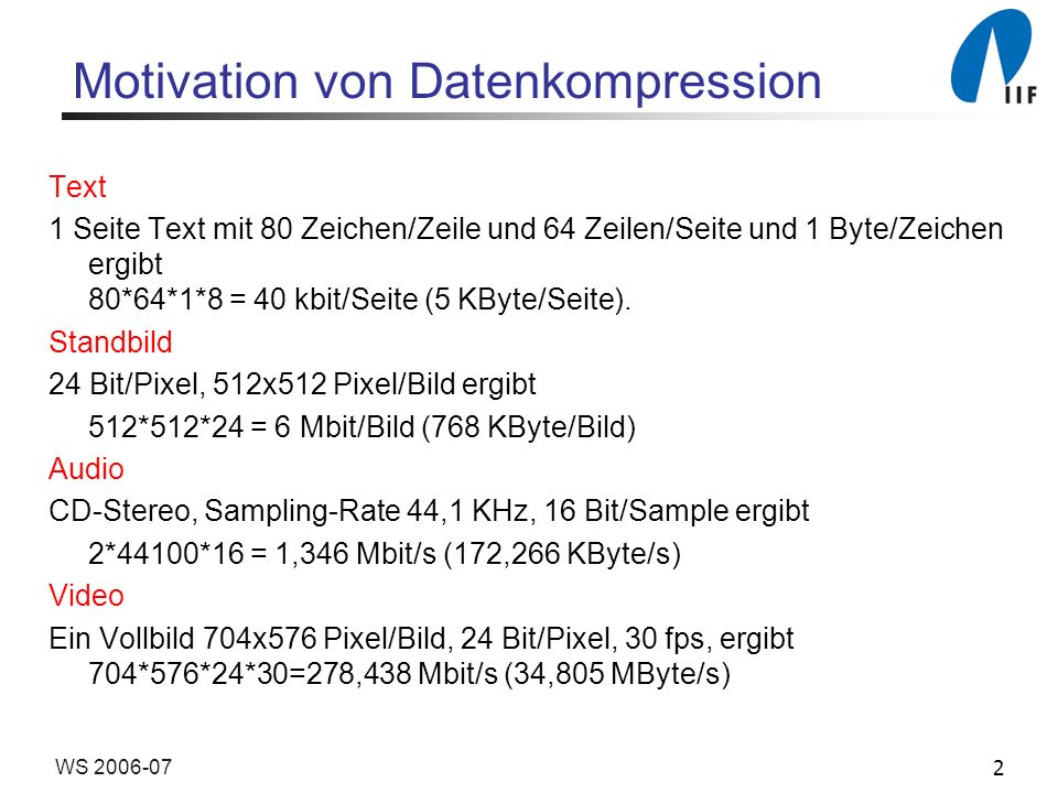 Motivation von Datenkompression