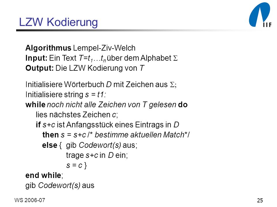 LZW Kodierung Algorithmus Lempel-Ziv-Welch