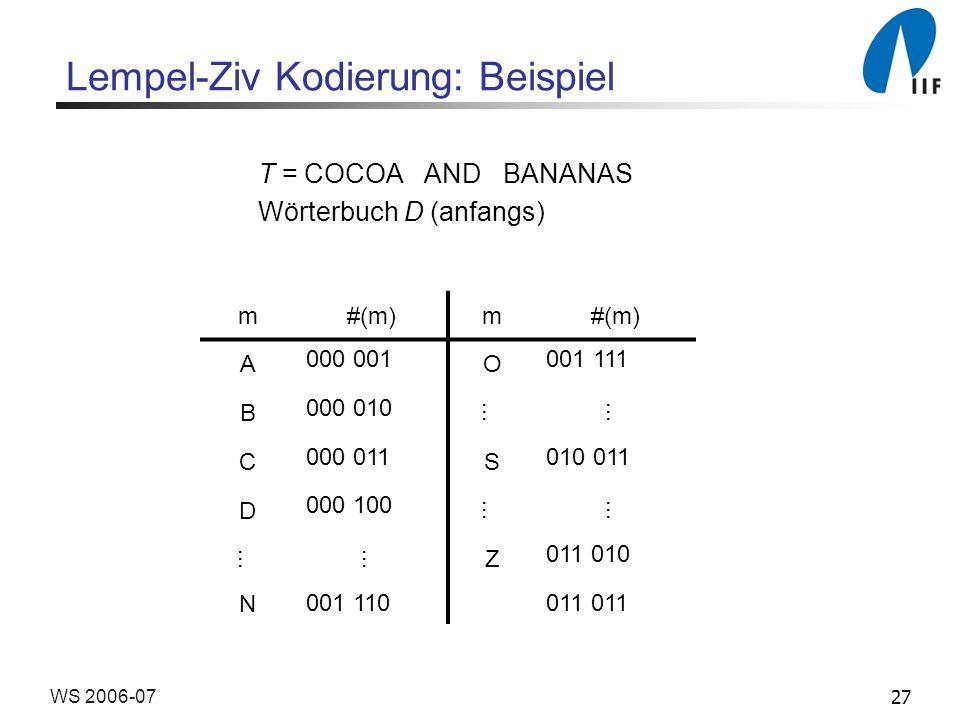 Lempel-Ziv Kodierung: Beispiel