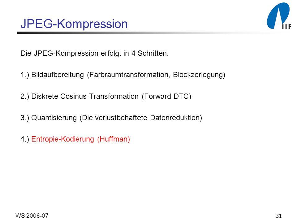 JPEG-Kompression Die JPEG-Kompression erfolgt in 4 Schritten: