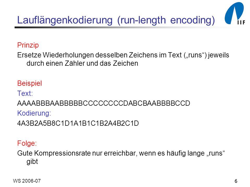 Lauflängenkodierung (run-length encoding)