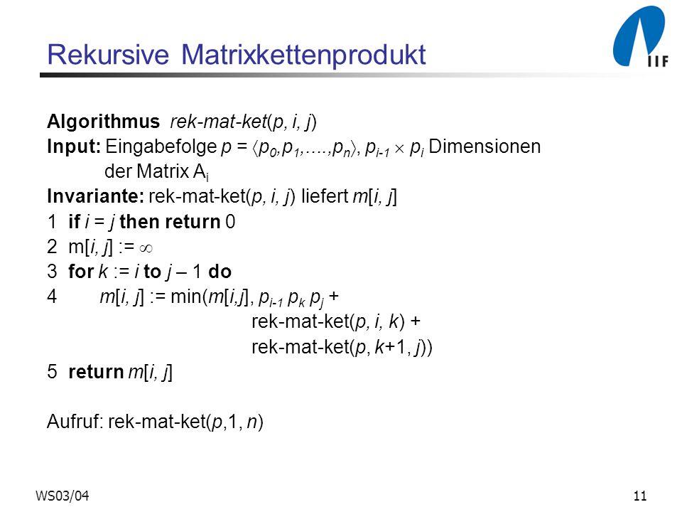 Rekursive Matrixkettenprodukt