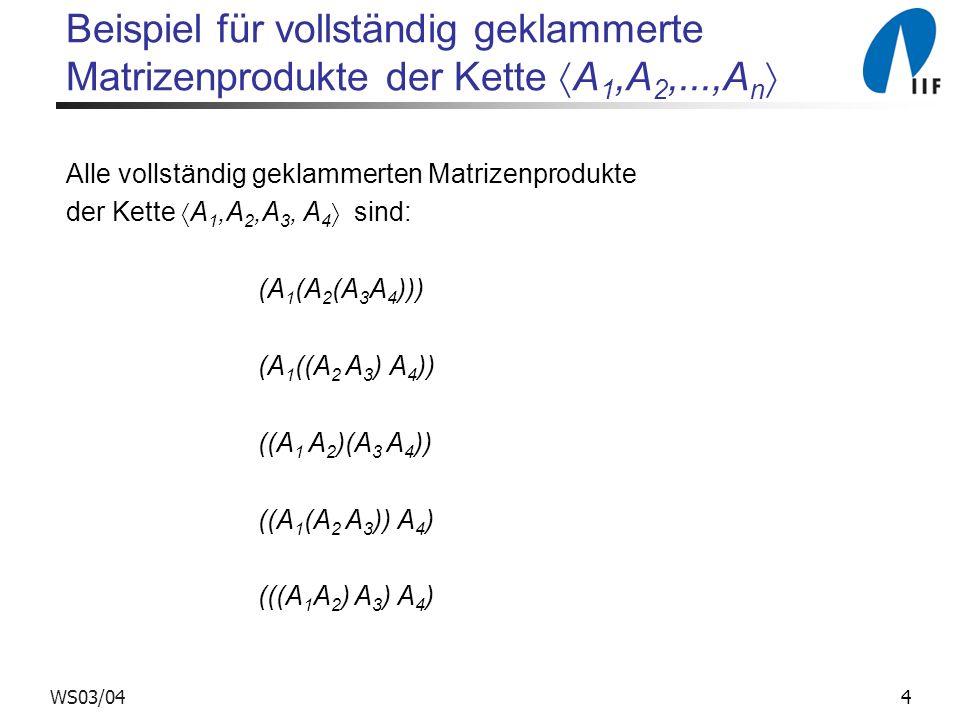 Beispiel für vollständig geklammerte Matrizenprodukte der Kette A1,A2,...,An
