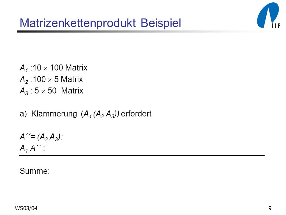 Matrizenkettenprodukt Beispiel