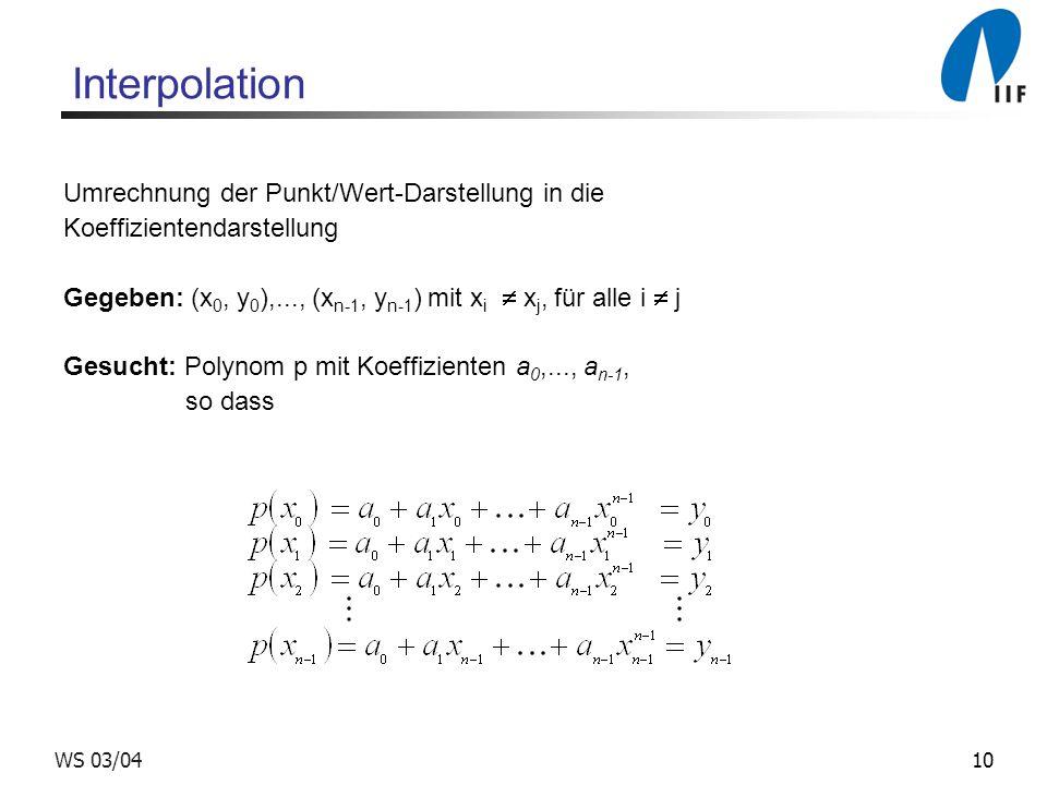Interpolation Umrechnung der Punkt/Wert-Darstellung in die