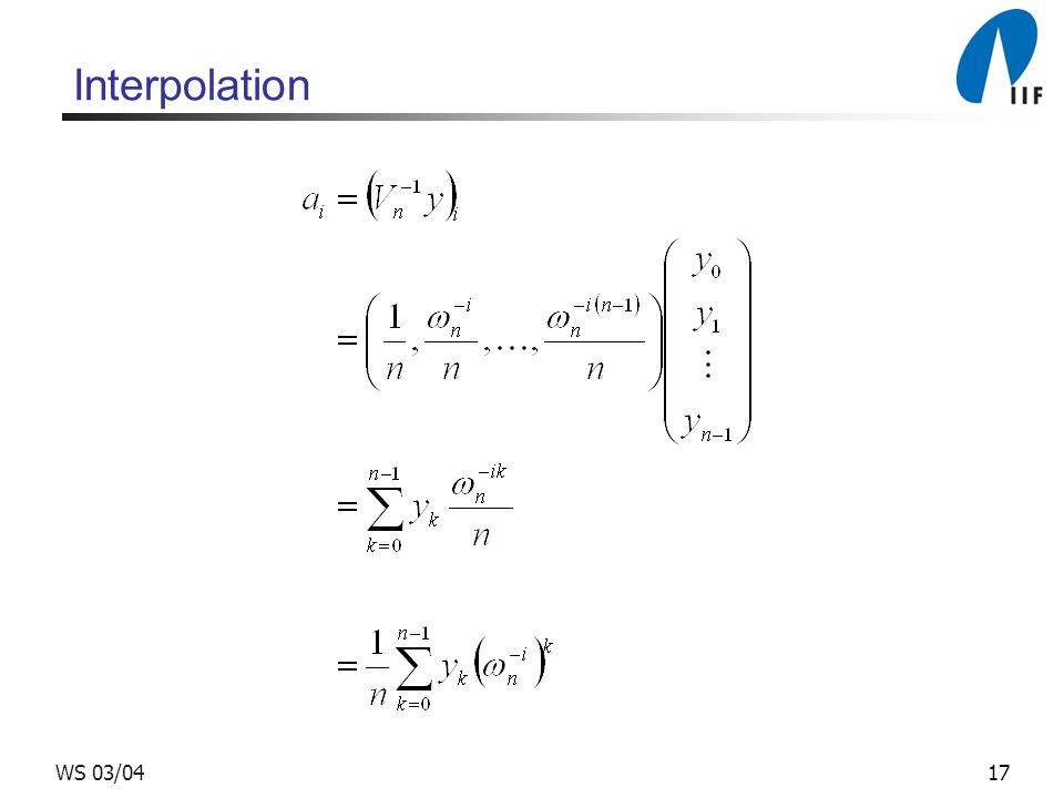 Interpolation WS 03/04
