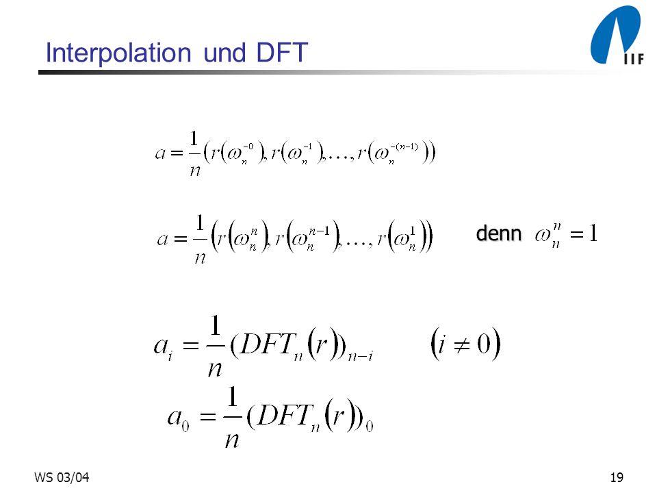 Interpolation und DFT denn WS 03/04