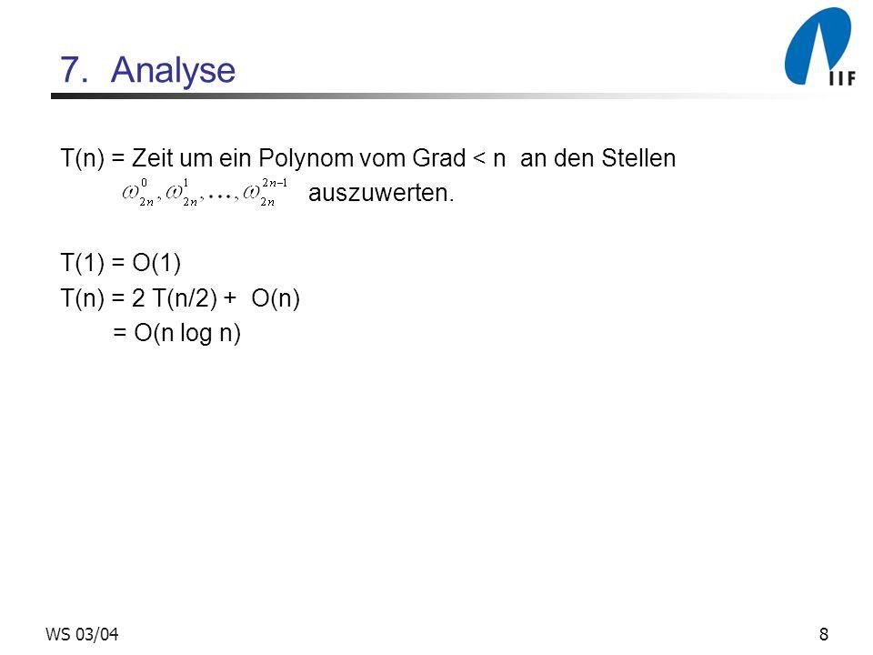 7. Analyse T(n) = Zeit um ein Polynom vom Grad < n an den Stellen