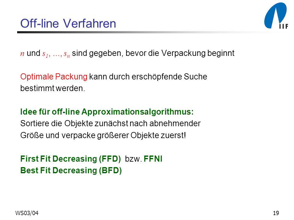 Off-line Verfahren n und s1, ..., sn sind gegeben, bevor die Verpackung beginnt. Optimale Packung kann durch erschöpfende Suche.