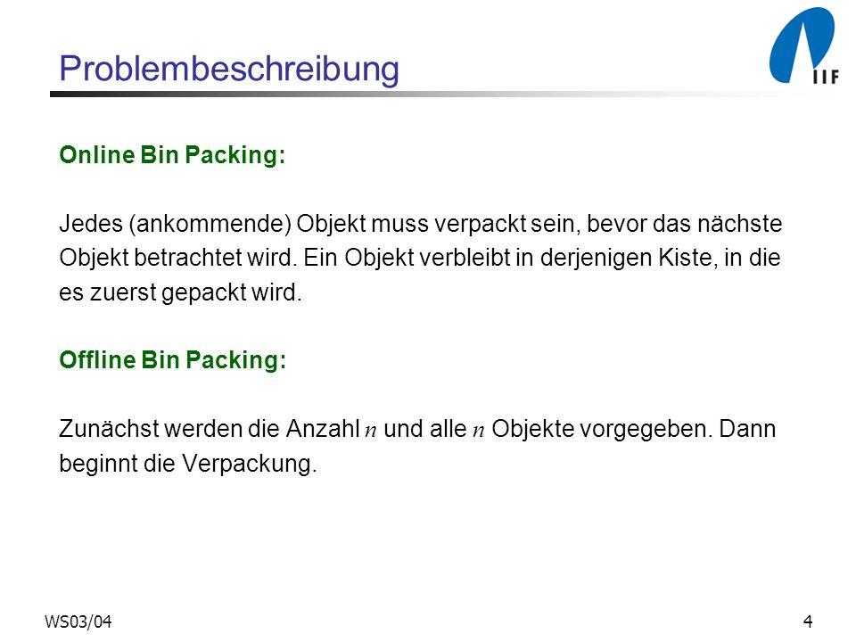 Problembeschreibung Online Bin Packing: