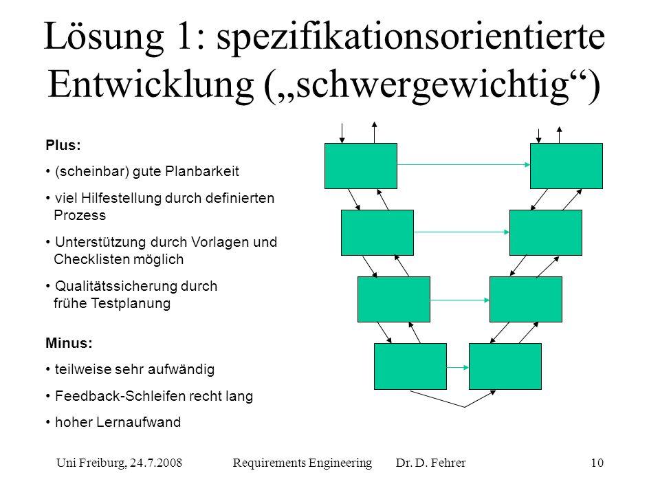 """Lösung 1: spezifikationsorientierte Entwicklung (""""schwergewichtig )"""