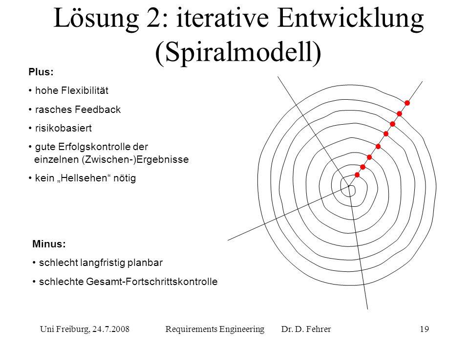 Lösung 2: iterative Entwicklung (Spiralmodell)