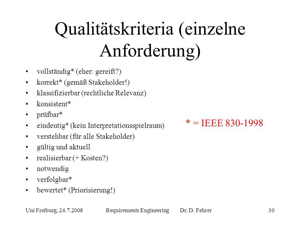 Qualitätskriteria (einzelne Anforderung)