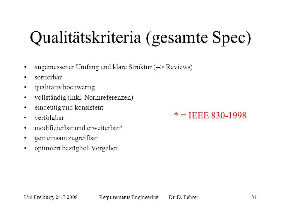 Qualitätskriteria (gesamte Spec)
