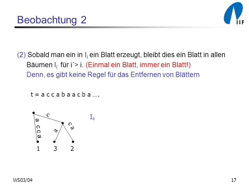 Beobachtung 2 (2) Sobald man ein in Ii ein Blatt erzeugt, bleibt dies ein Blatt in allen. Bäumen Ii´ für i´> i. (Einmal ein Blatt, immer ein Blatt!)