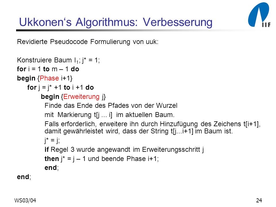 Ukkonen's Algorithmus: Verbesserung