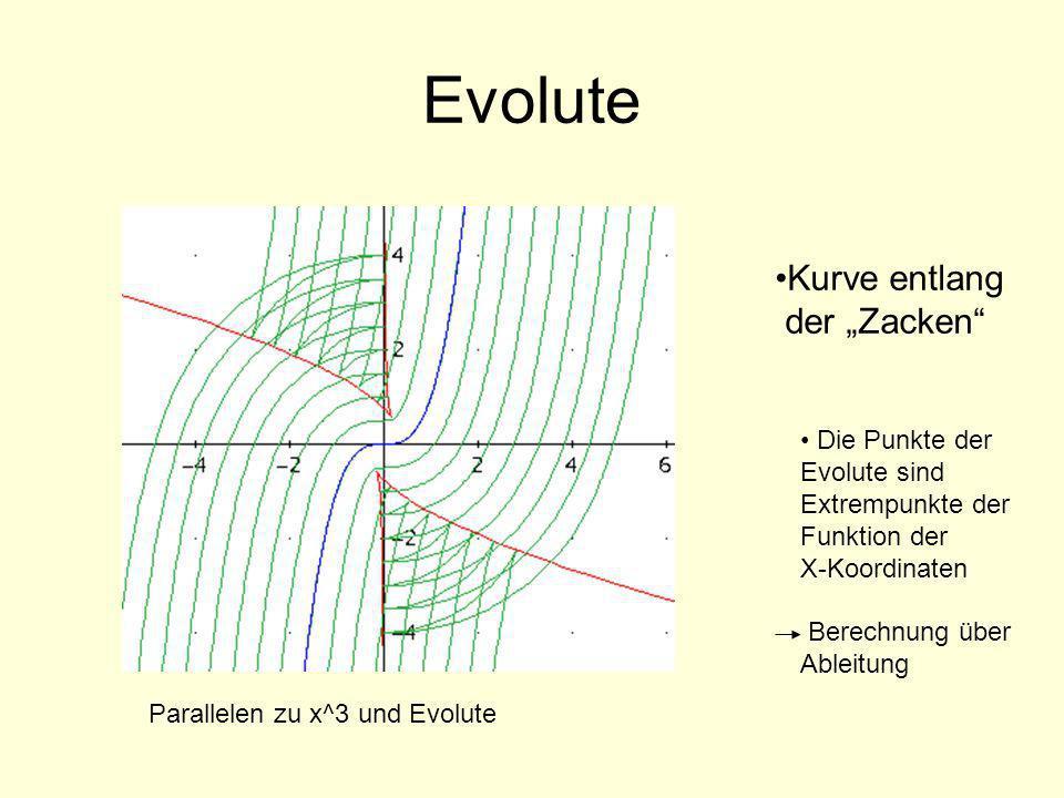 """Evolute Kurve entlang der """"Zacken Die Punkte der Evolute sind"""