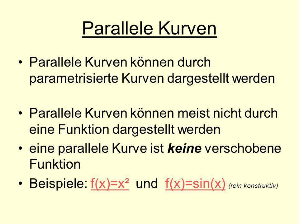 Parallele Kurven Parallele Kurven können durch parametrisierte Kurven dargestellt werden.