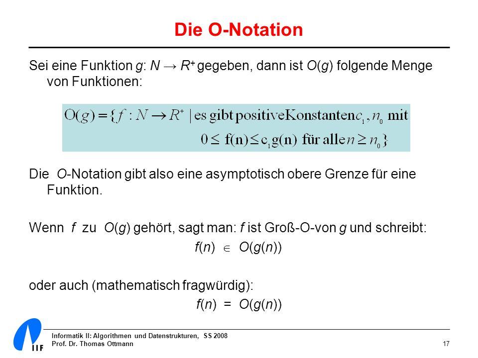 Die O-Notation Sei eine Funktion g: N → R+ gegeben, dann ist O(g) folgende Menge von Funktionen: