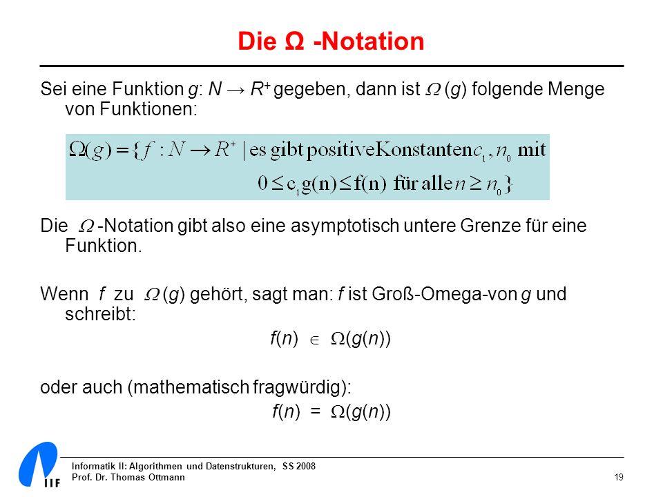 Die Ω -Notation Sei eine Funktion g: N → R+ gegeben, dann ist  (g) folgende Menge von Funktionen: