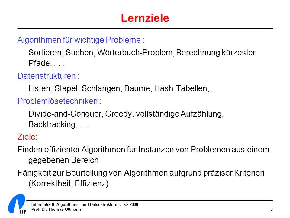 Lernziele Algorithmen für wichtige Probleme :