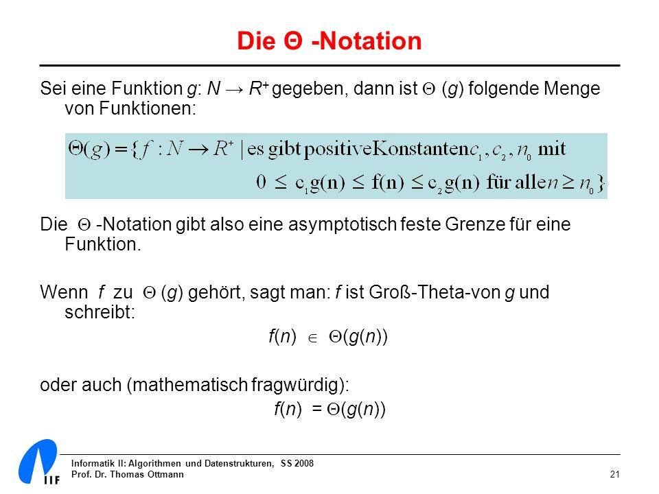 Die Θ -Notation Sei eine Funktion g: N → R+ gegeben, dann ist  (g) folgende Menge von Funktionen:
