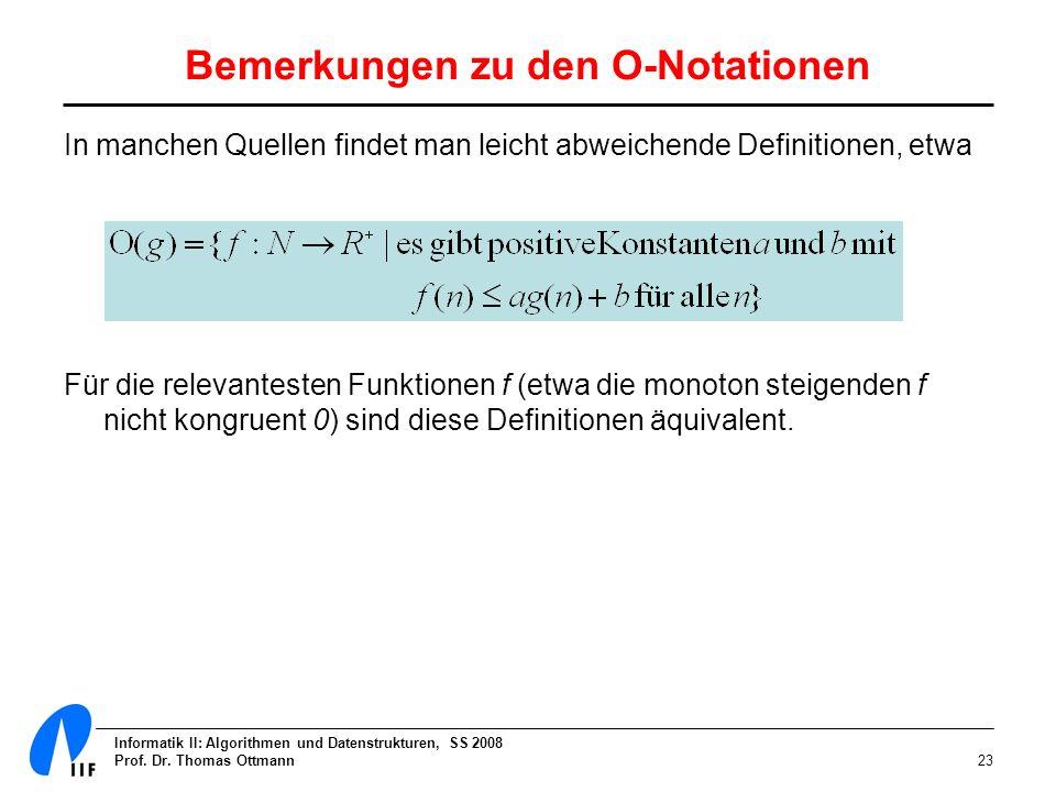Bemerkungen zu den O-Notationen