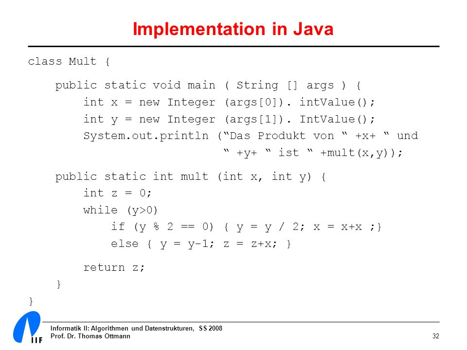 Implementation in Java