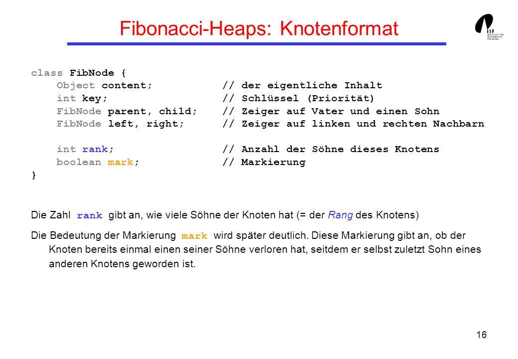 Fibonacci-Heaps: Knotenformat