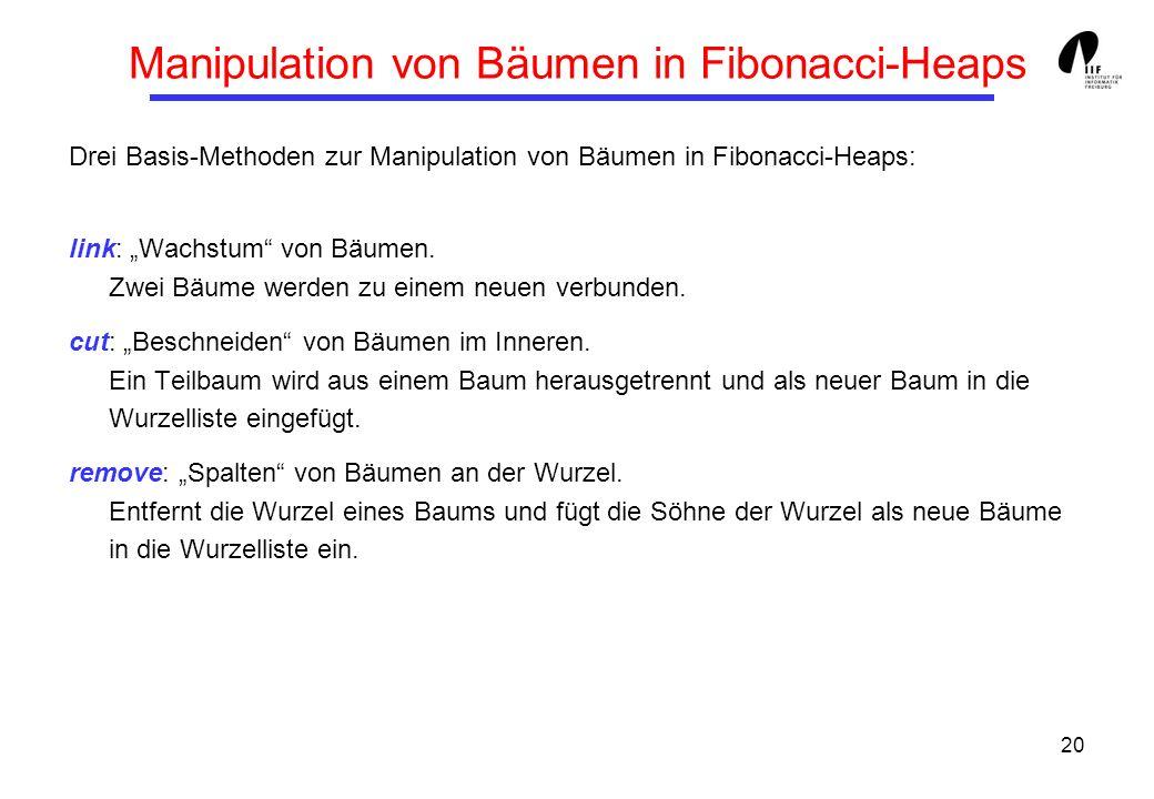 Manipulation von Bäumen in Fibonacci-Heaps