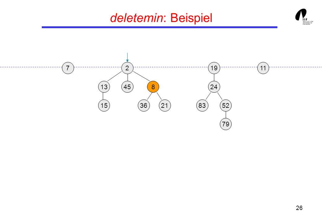 deletemin: Beispiel 7 2 19 11 13 45 8 24 15 36 21 83 52 79