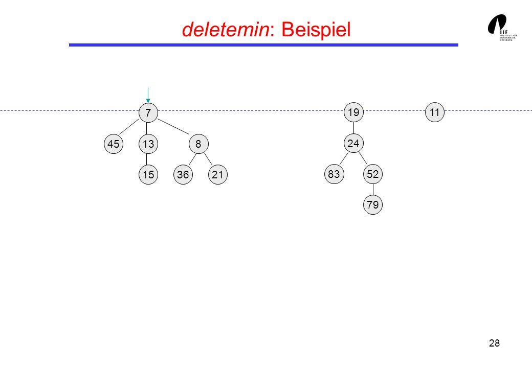 deletemin: Beispiel 7. 19. 11. 45. 13. 8. 24. 15. 36. 21. 83. 52. 79.