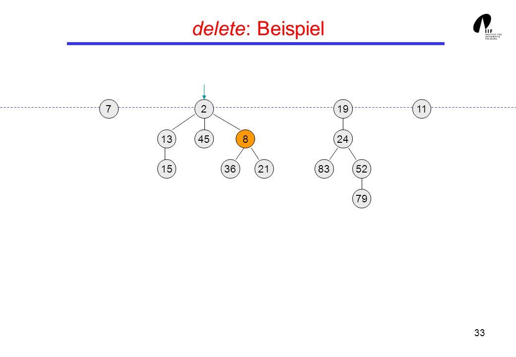 delete: Beispiel 7 2 19 11 13 45 8 24 15 36 21 83 52 79 Delete(24)