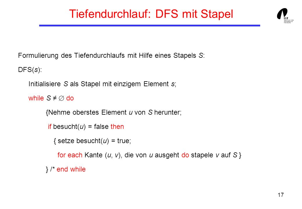 Tiefendurchlauf: DFS mit Stapel