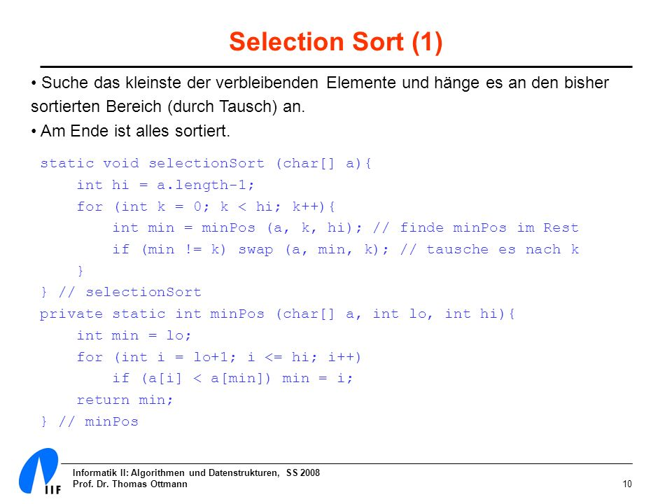 Selection Sort (1)