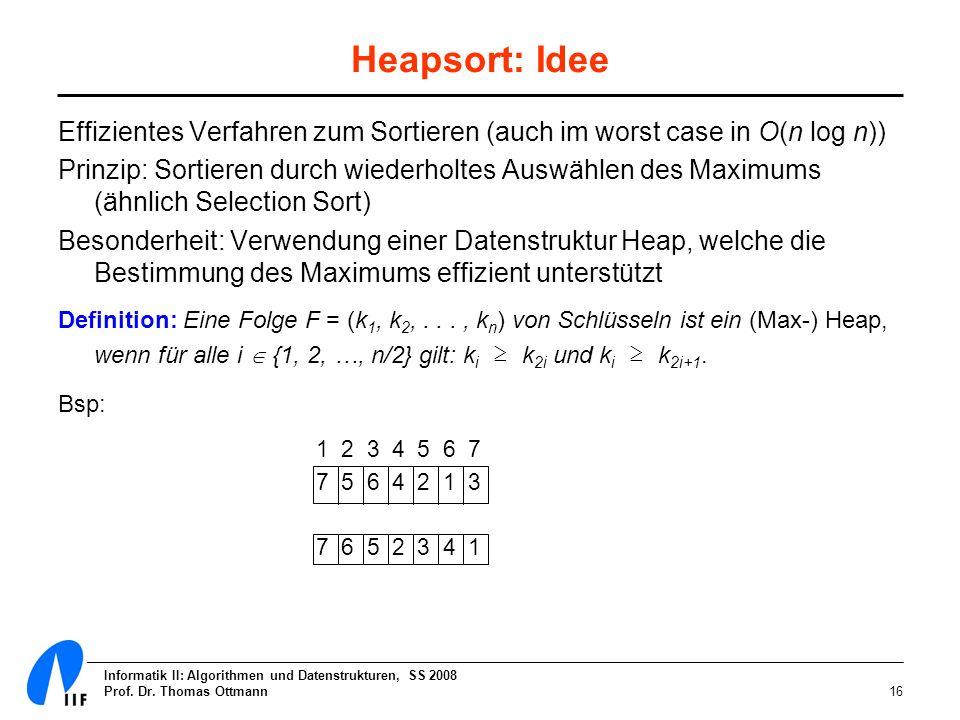 Heapsort: Idee Effizientes Verfahren zum Sortieren (auch im worst case in O(n log n))
