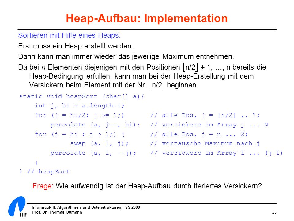 Heap-Aufbau: Implementation