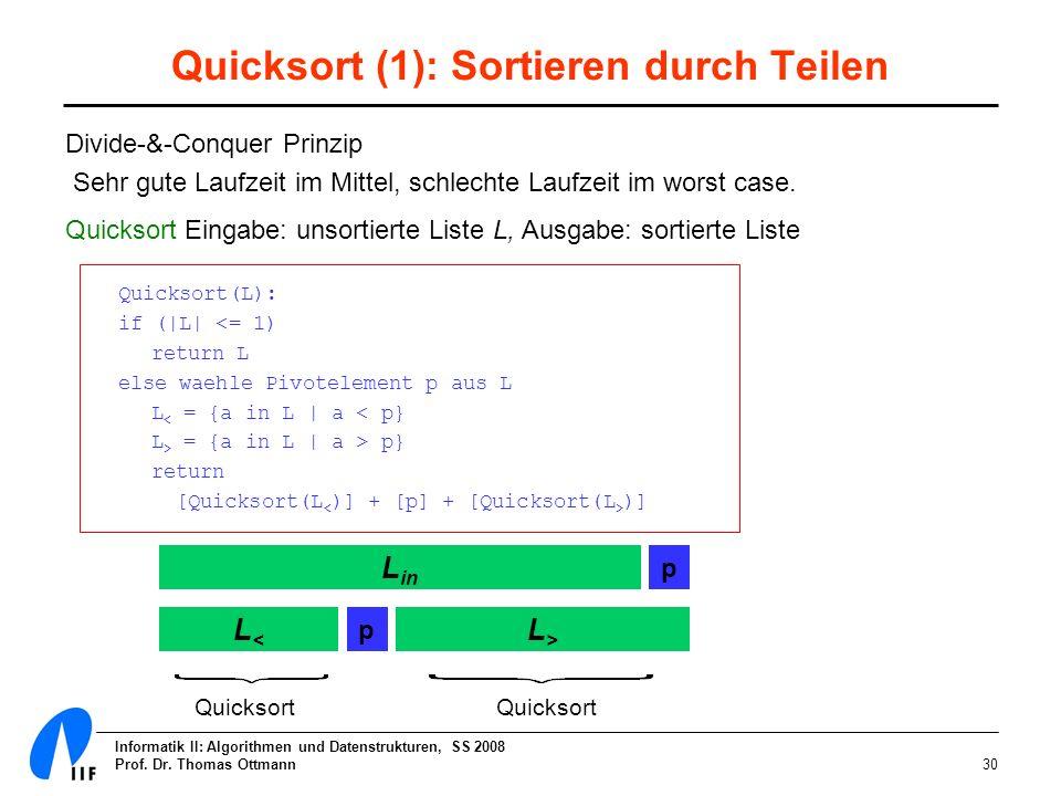 Quicksort (1): Sortieren durch Teilen